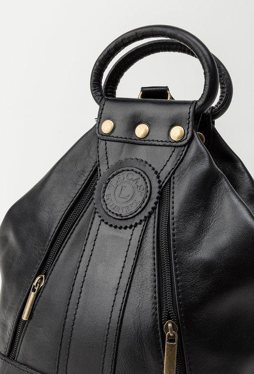 Geanta-rucsac negru din piele naturala Ruth