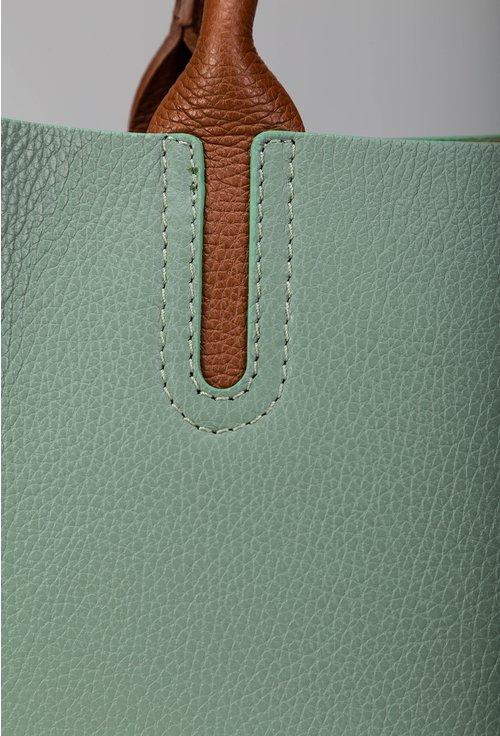 Geanta din piele naturala verde cu detalii maro