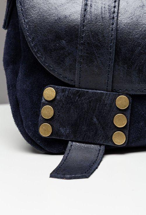 Geanta navy din piele cu bareta tip postas