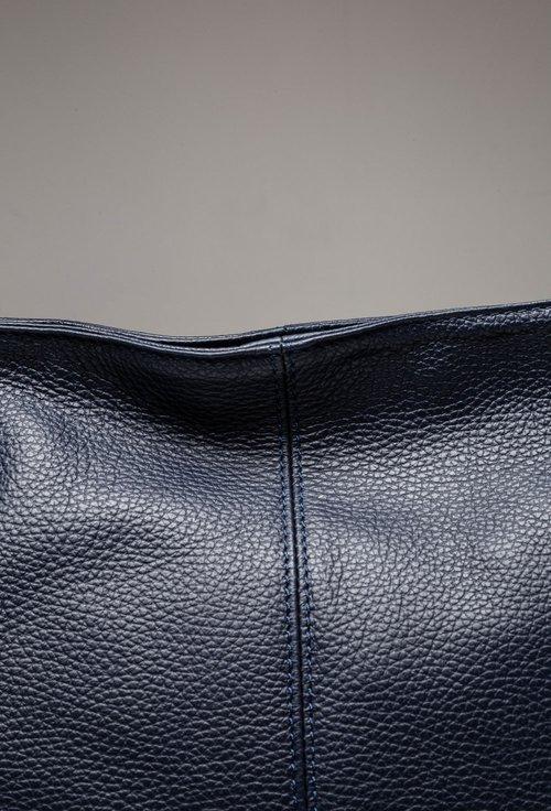 Geanta bleumarin din piele cu doua buzunare verticale