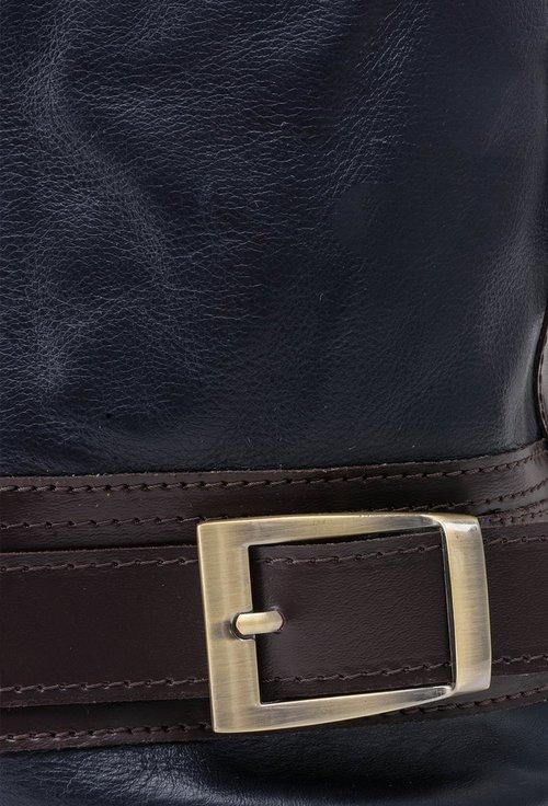 Geanta bleumarin din piele cu buzunar lateral
