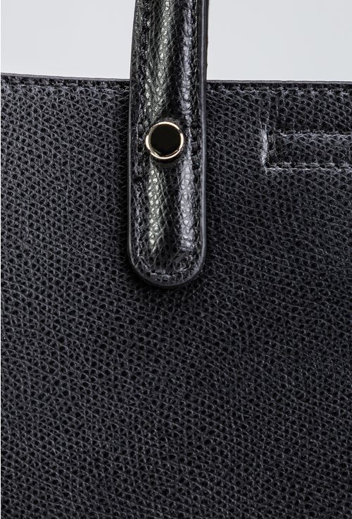 Geanta neagra din piele naturala cu interior bleumarin