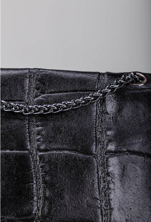 Geanta neagra din piele naturala cu lant