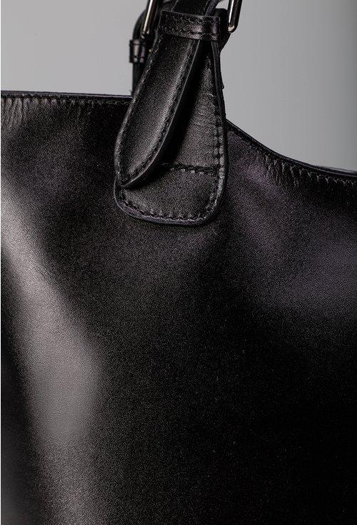 Geanta neagra din piele naturala cu manere