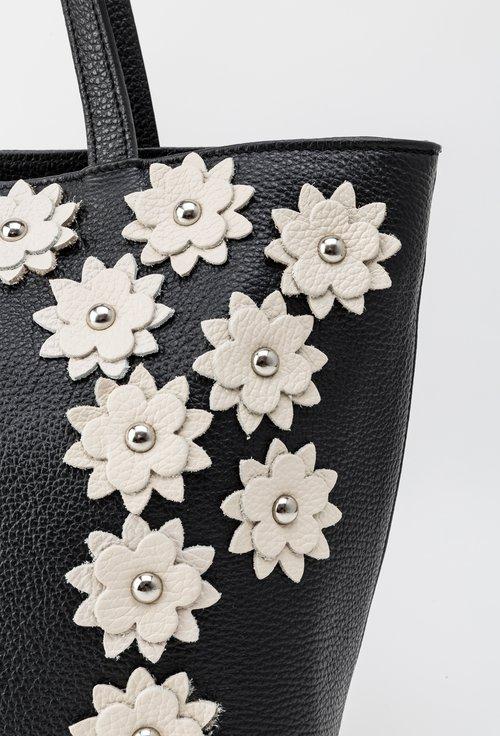 Geanta neagra din piele naturala cu model floral crem Alia