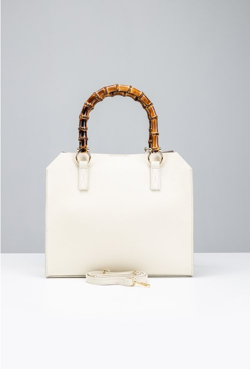Geanta nuanta alb fildes din piele naturala cu maner decorativ