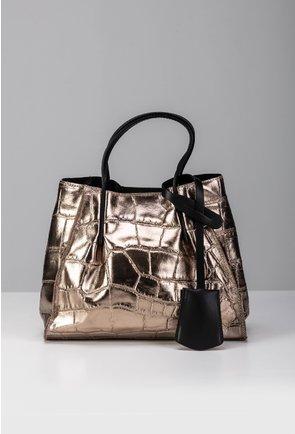 Geanta nuanta bronz tip shopper din piele naturala