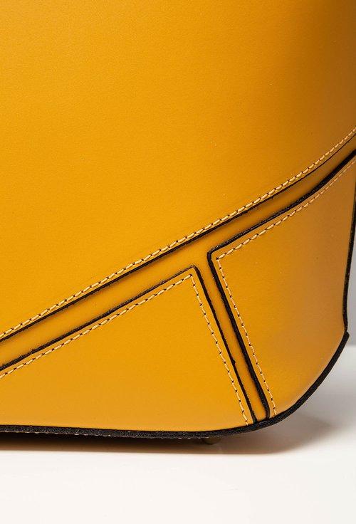 Geanta nuanta galben mustar din piele cu detalii geometrice