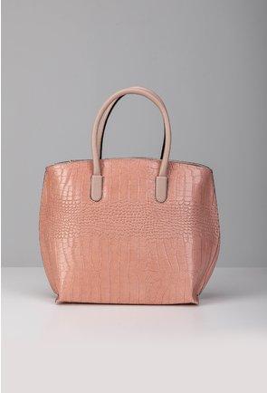 Geanta nuanta roz pal din piele naturala tip reptila
