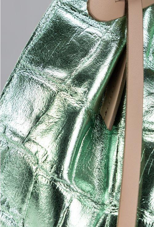 Geanta nuanta verde sidefat tip shopper din piele naturala