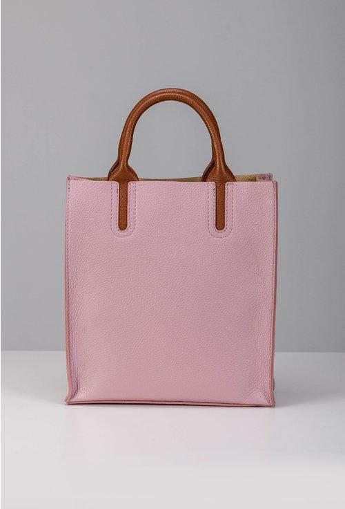 Geanta roz din piele naturala cu detalii maro