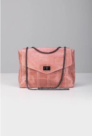 Geanta roz din piele naturala cu lant