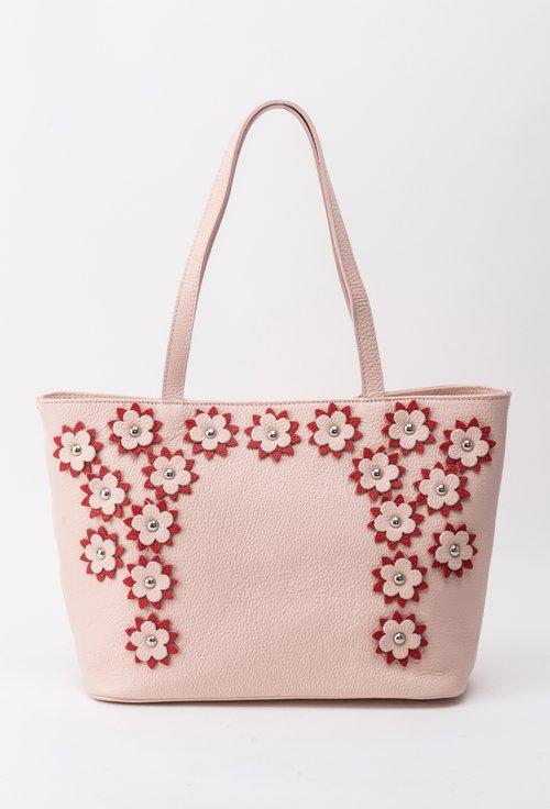 Geanta roz din piele naturala cu model floral rosu cu roz Alia