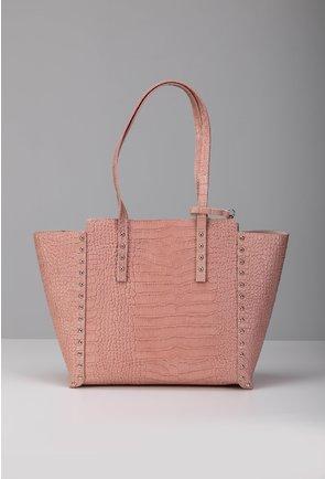 Geanta roz din piele naturala texturata cu tinte