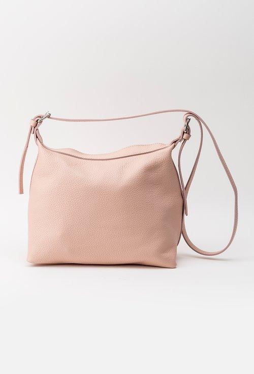 Geanta roz nude din piele naturala texturata Anisia