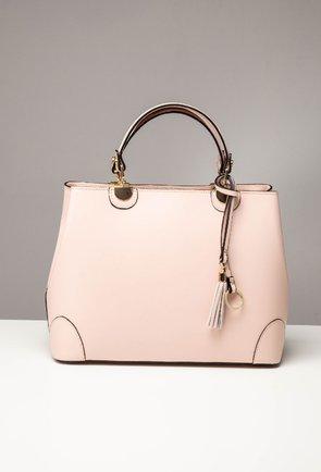 Geanta roz pal din piele naturala Charlize