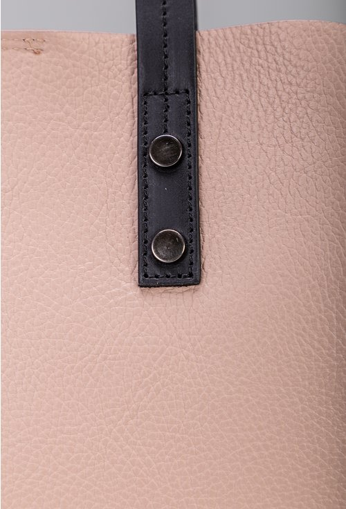 Geanta roz pal din piele naturala compartimentata