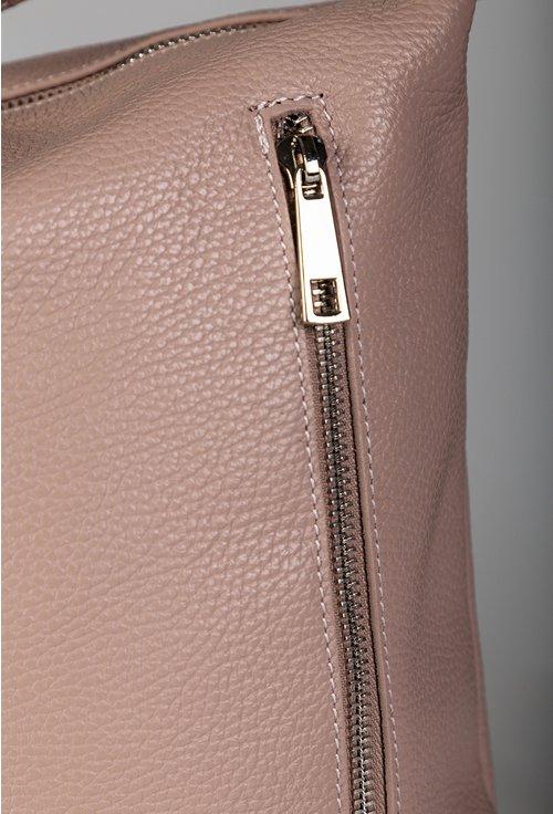 Geanta roz pal din piele naturala cu buzunare cu fermoar