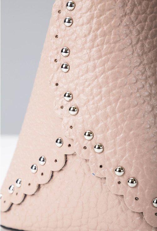 Geanta roz pudra din piele cu tinte si barete