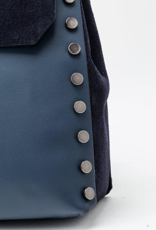 Geanta-rucsac bleumarin din piele naturala Amelia