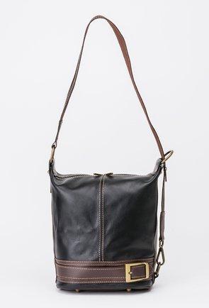 Geanta-rucsac neagra cu maro din piele naturala Sely