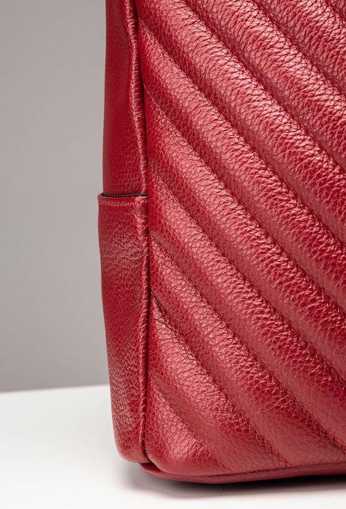 Geanta-rucsac rosu din piele naturala Ama