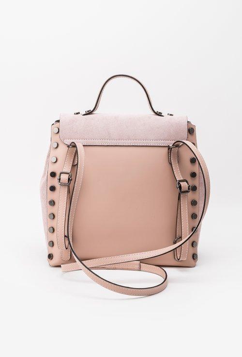 Geanta-rucsac roz din piele naturala Amelia