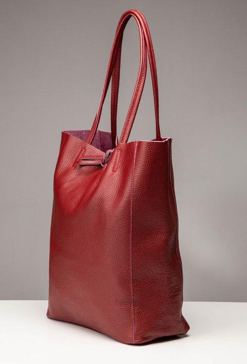 Geanta shopper grena din piele naturala texturata