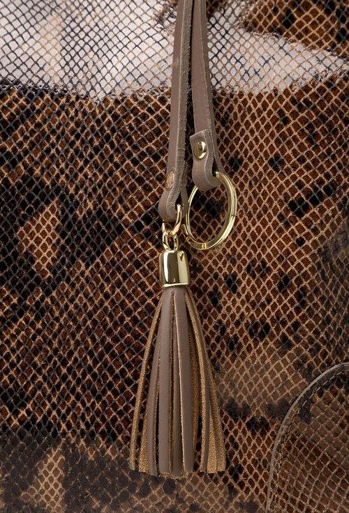 Geanta snake print maro din piele naturala