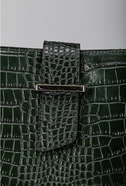 Geanta verde din piele cu imprimeu tip piele de reptila