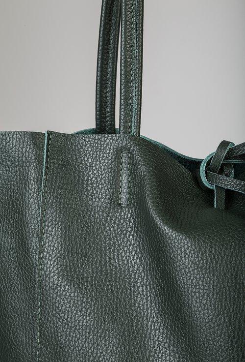 Geanta verde din piele naturala Aliona