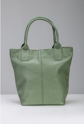 Geanta verde din piele naturala tip shopper cu fermoar