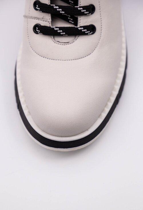 Ghete albe din piele naturala cu material textil elastic