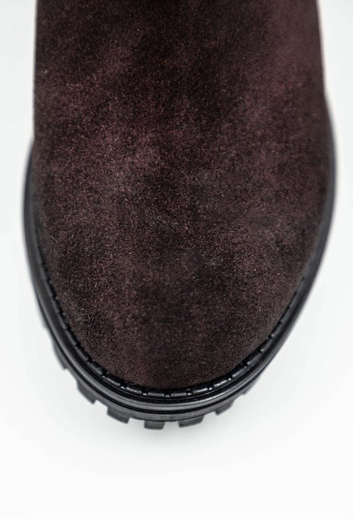 Ghete bordo din piele naturală cu elastic in partile laterale