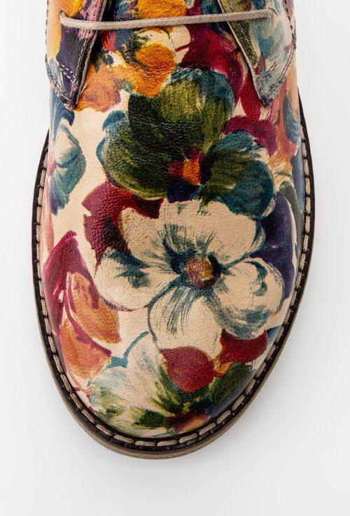Ghete din piele naturala cu imprimeu floral colorat