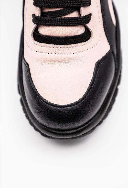 Ghete din piele naturala roz cu negru cu detaliu holografic
