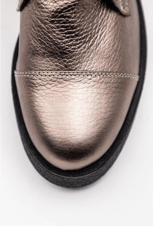 Ghete din piele naturala texturata nuanta bronz