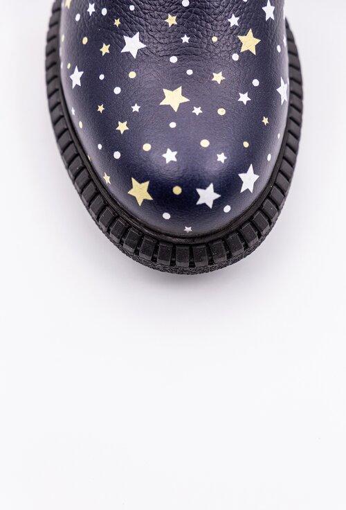 Ghete din piele nuanta navy cu imprimeu cu stele