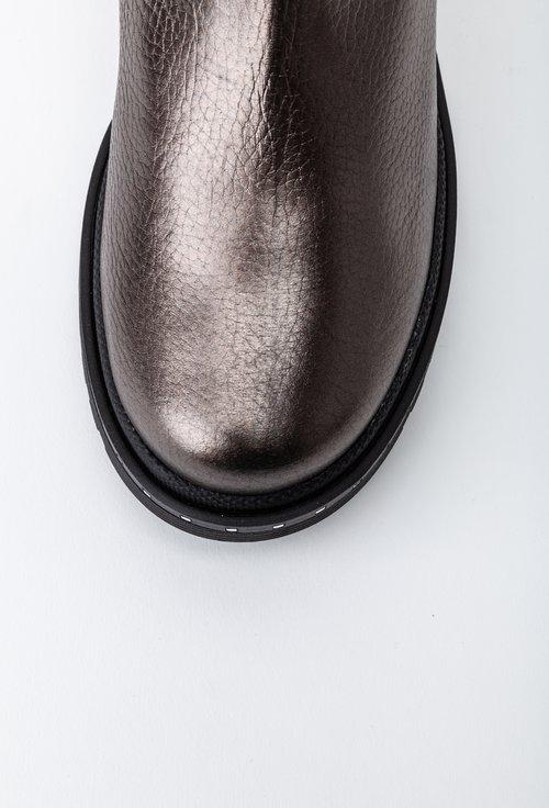 Ghete inalte din piele naturala nuanta bronz argintiu