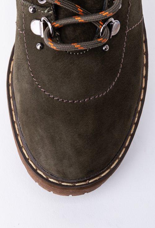 Ghete kaki din piele naturala intoarsa cu siret si cusaturi