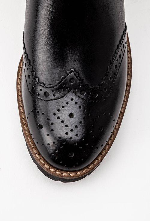 Ghete negre cu detalii perforate din piele naturala Morelo