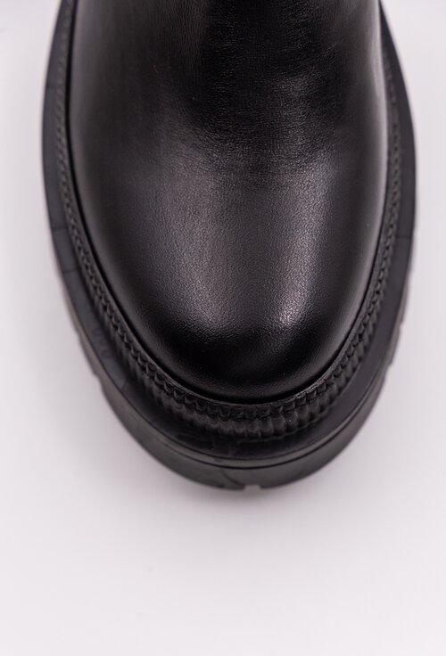 ghete negre din piele box cu fermoar lateral si talpa zimtata