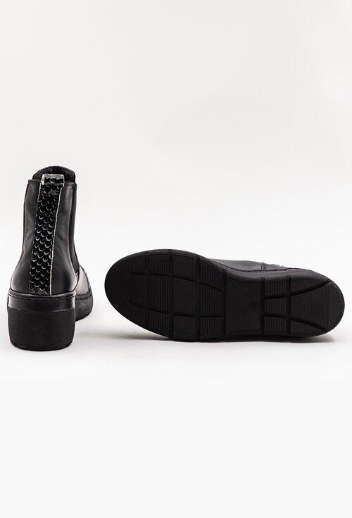 Ghete negre din piele naturala box cu detaliu snake print
