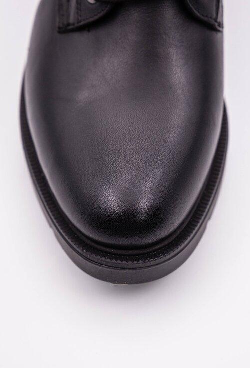 Ghete negre din piele naturala box cu siret si detaliu fermoar