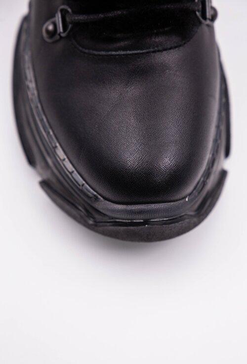 Ghete negre din piele naturala cu detaliu blanita