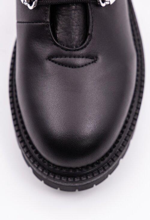 Ghete negre din piele naturala cu detaliu lant