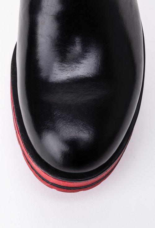 Ghete negre din piele naturala cu talpa rosie
