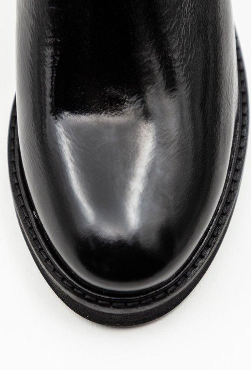Ghete negre din piele naturala lacuita tip stretch si material textil