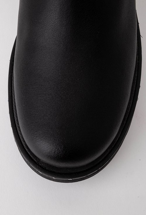 Ghete negre inalte din piele cu detaliu tip fermoar