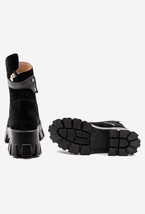 Ghete negre tip camoscio cu design asimetric